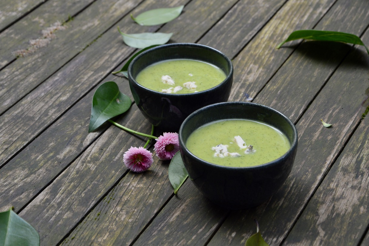 Courgette & blue cheese velouté