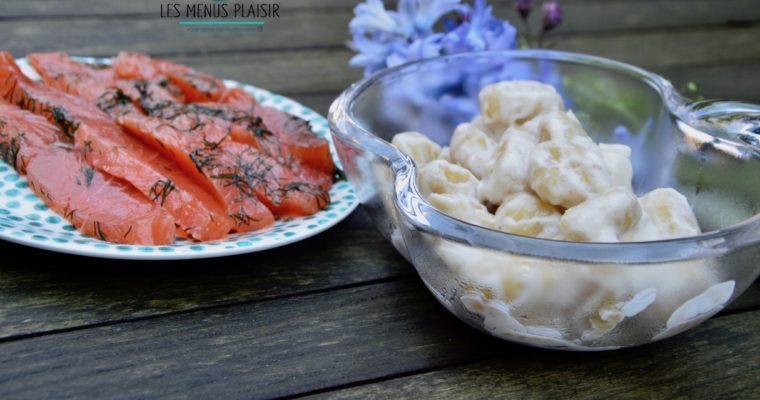 Les gnocchis à la sauce raifort pour accompagner le saumon gravlax