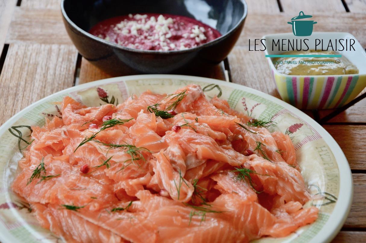 Homemade gravlax style salmon