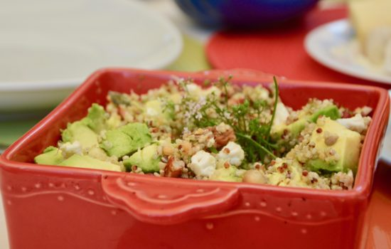My cauliflower, avocado, pomegranate & quinoa salad