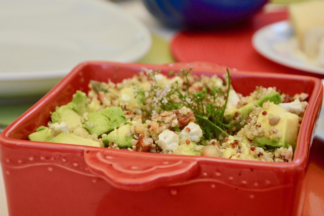 My cauliflower, avocado, pomegranate & quinoa salad