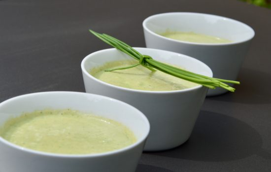 Chilled zucchini & ginger soup