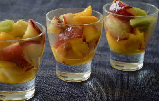 Salade de brugnons aux mangues et aux kiwis