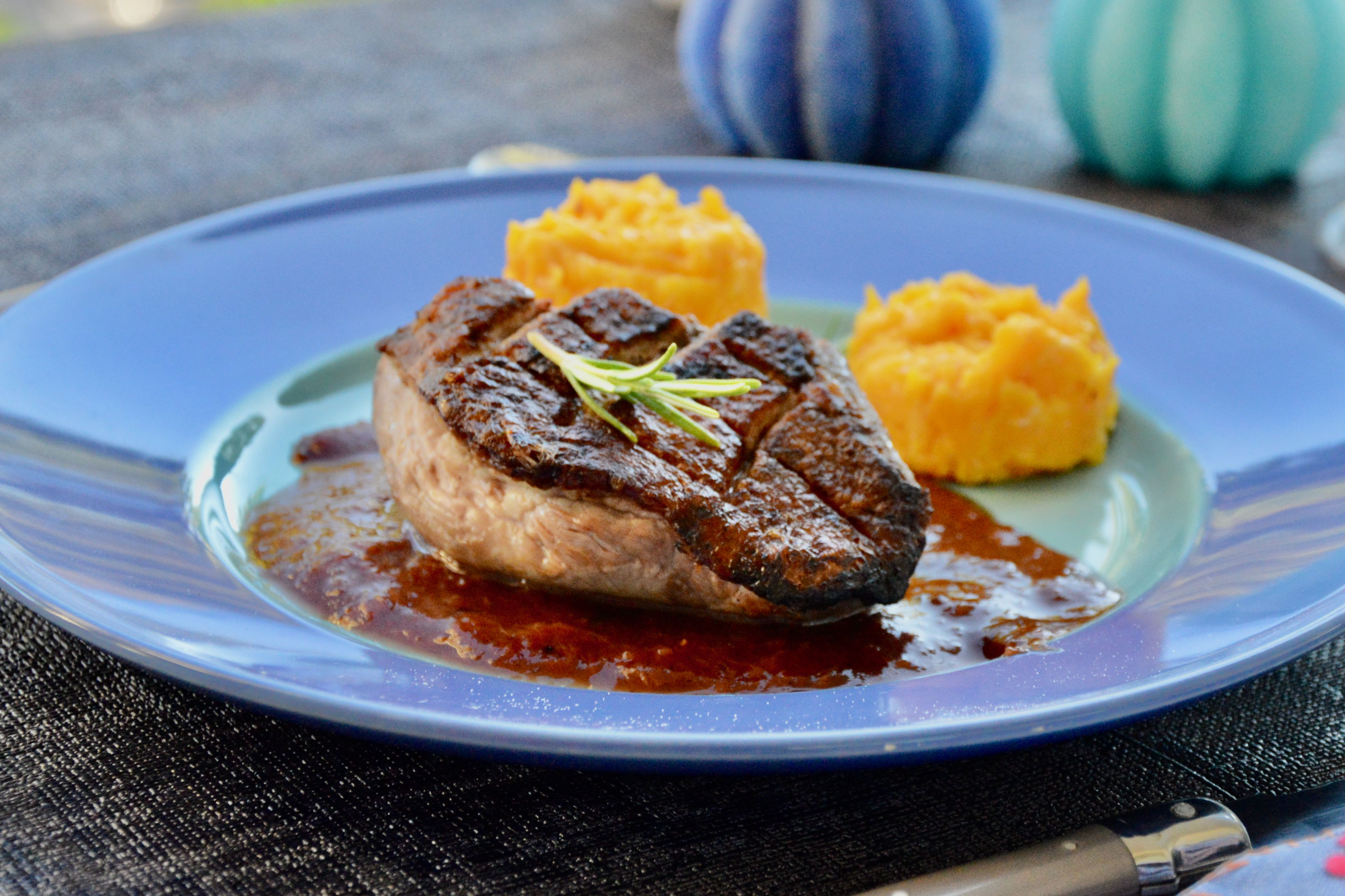 Grilled duck breast with honey and rosemary
