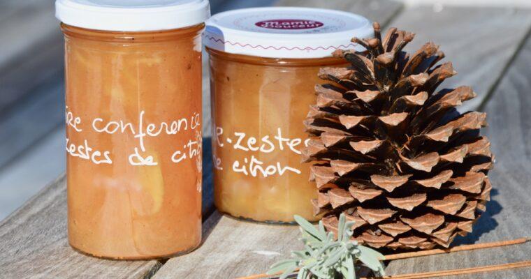 la confiture de poire juteuse et parfumée aux zestes de citron