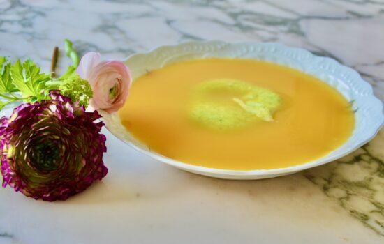 la crème de potimarron et courgette