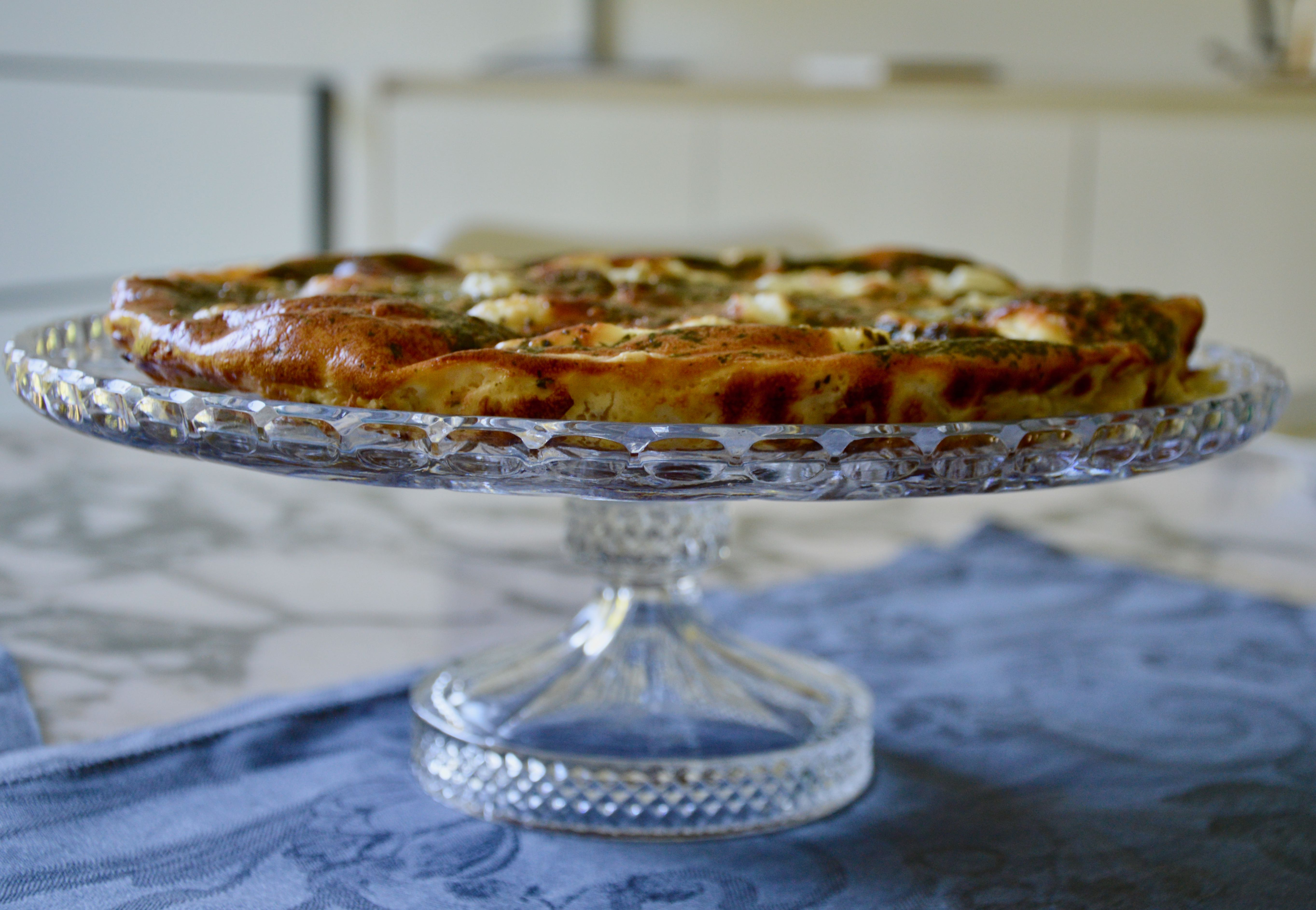 Goat cheese and fresh mint pie