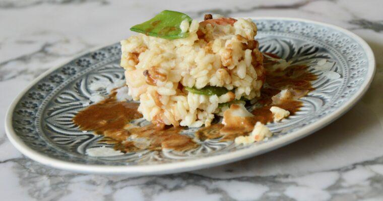 mon risotto aux crevettes, poivre de Sichuan et à la bisque de crustacés