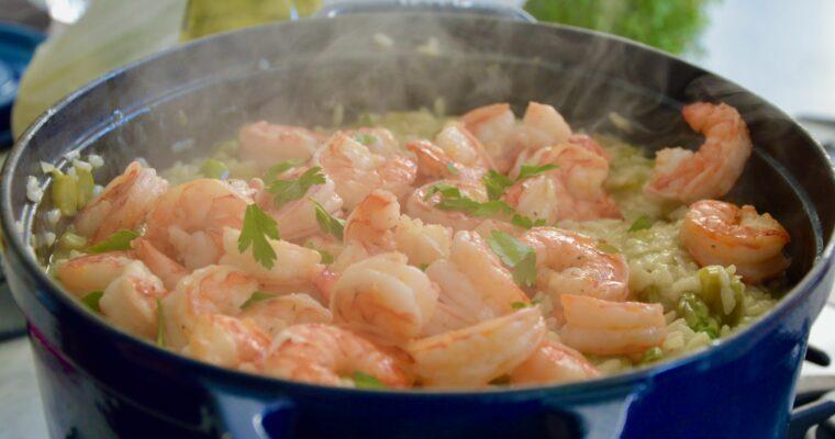 Rosetta's asparagus & prawn risotto