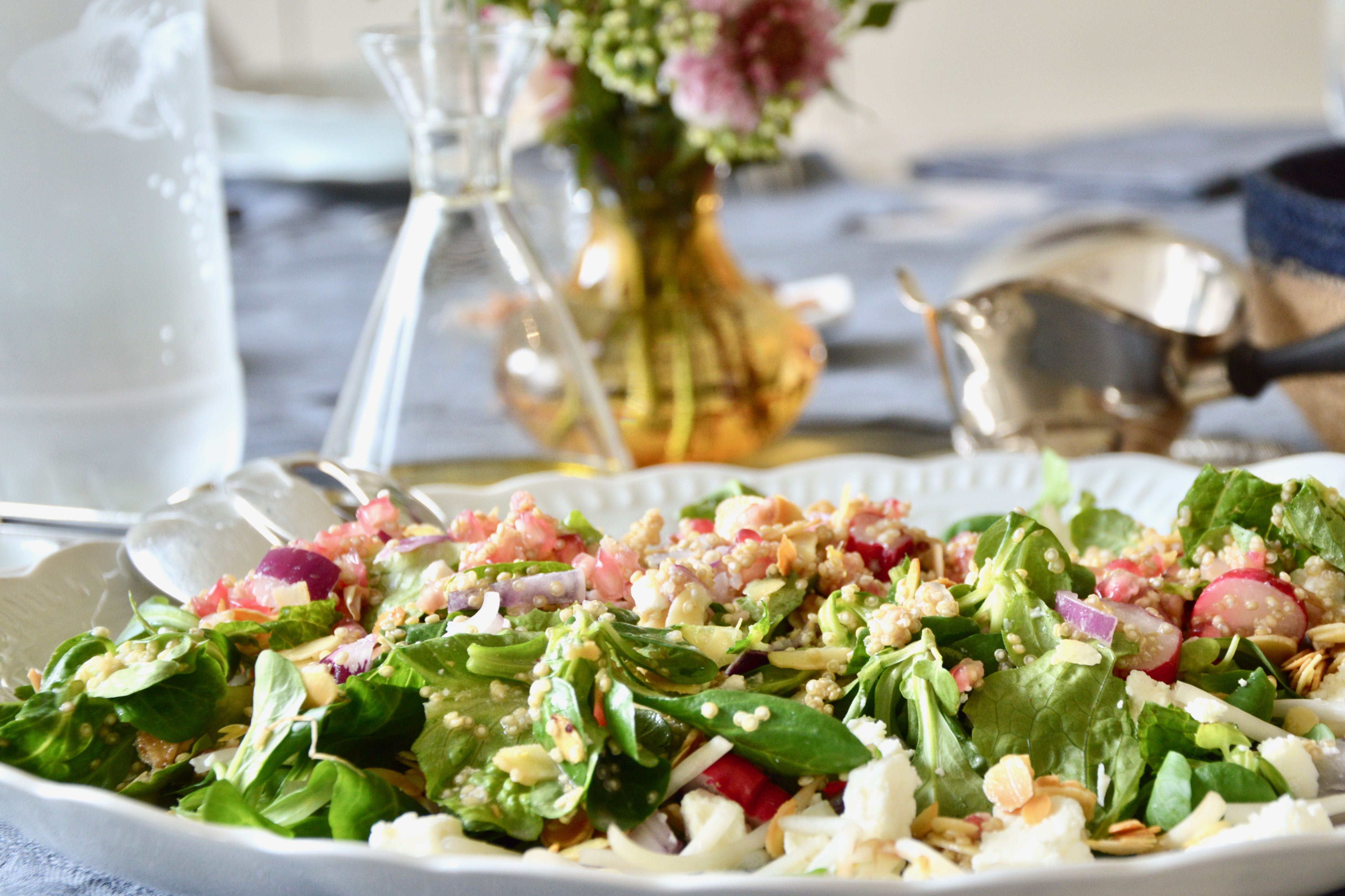 Quinoa Salad with Almond, Feta cheese & Pomegranate