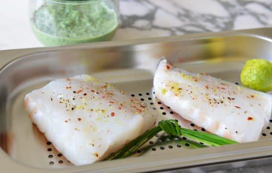 Combava steamed cod fish