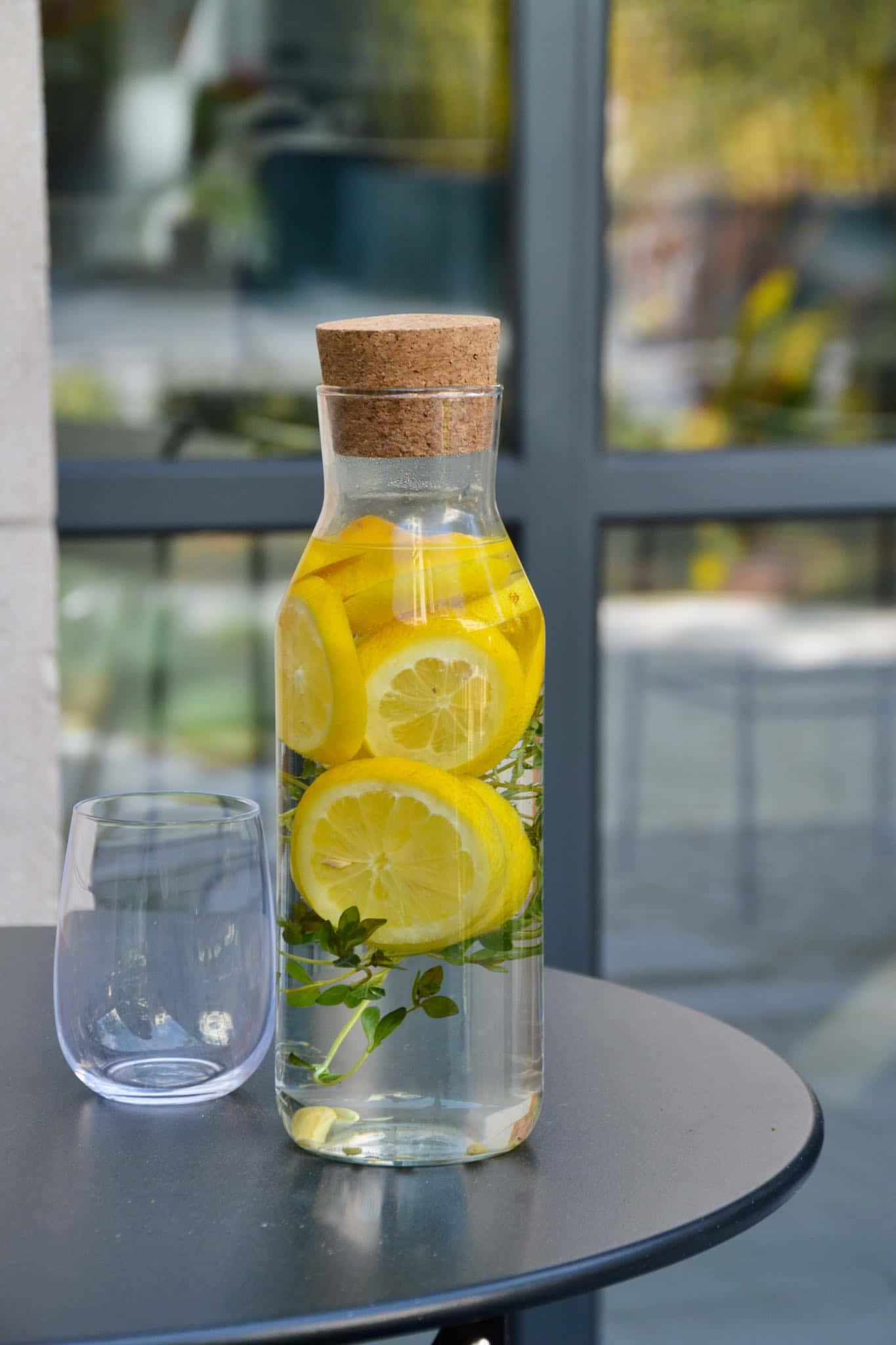 Fresh lemon thyme water drink